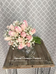 Blush pink tulips and baby's breath bouquet- For maid of honor