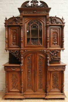 ~ Henri II Walnut 10 pc. Dining Room Suite 19th Century ~ antiq.com/houtroos