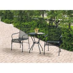Mainstays 3Piece Bistro Set Outdoor Furniture Black ** This is an Amazon Associate's Pin. Details on product can be viewed on Amazon website by clicking the image.