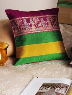 Magenta-Green Handloom Silk Cushion Cover  16in x  15.5in