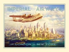 """Imperial Airways - London to New York Photographic Print by The Vintage Collection at Art.com 24"""" x 18"""" Photographic Print $59.99 $35.99"""