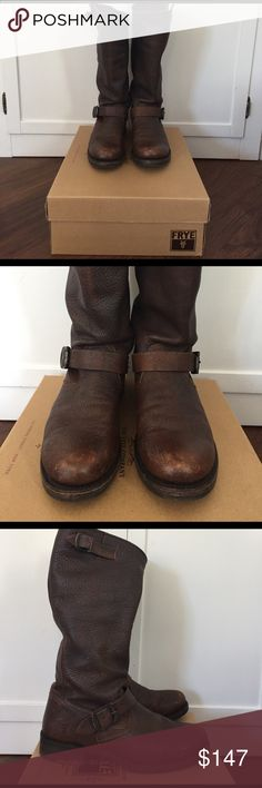 """Frye Veronica Slouch boots 10 Beautiful pair of Veronica slouch Frye boots in dark brown calf shine vintage finish- worn only a handful of times. Very light wear on the bottoms and any marks on the boots themselves is their natural distressing. Width B. Circumference 15"""", shaft 13.5"""", heel height 1.25"""". Comes in the box. Frye Shoes Heeled Boots"""