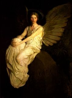 """One of my all time favorites. Artist: Abbott Handerson Thayer 1903 """"Stevenson memorial"""" The painting is in the collection of the Smithsonian American Art Museum. Angels Among Us, Angels And Demons, I Believe In Angels, Ange Demon, Angels In Heaven, Heavenly Angels, Pre Raphaelite, Guardian Angels, Religious Art"""