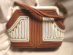 Vintage Telephone Cord Clasp Purse 1940's Med Brown White Plastic Coil Handbag | eBay