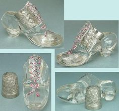 fb7d18176cf Glass Shoe Collection · 1870s hand painted thimble holder from Great  Britain with a British thimble as a bonus.