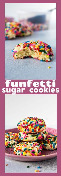 Funfetti Sugar Cookies – Sugar cookies with a hint of almond extract are rolled in sprinkles and baked to perfection. The texture on the inside remains soft while the exterior has a slight crunch. #recipe #sugarcookies #funfetti #sprinkles #confetti #soft #easy #cookies #dessert #fun #kids #children #almondextract Best Cookie Recipes, Best Dessert Recipes, Sweets Recipes, Easy Desserts, Delicious Desserts, Vegetarian Desserts, Bar Recipes, Kitchen Recipes, Vegan Recipes