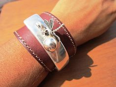 women brown leather bracelet sterling silver plated half bracelet cuff dragonfly clasp  leather handmade jewellery