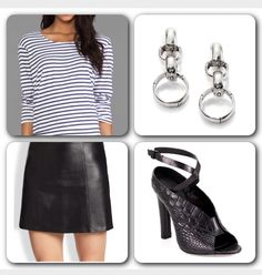 Today's Look: Top (#Monrow Striped Jersey Sweater) available at www.revolveclothing.com at $115. Skirt (T by #AlexanderWang Leather Mini Skirt) at $495. Sandals (Alexander Wang Clara Crocodile Embossed Leather Ankle Strap Sandals) at 60% at $238. Earrings (#JohnHardy Sterling Silver Bamboo Chain Drop Earrings) at $425. The skirt, sandals and earrings are available at www.saksfifthavenue.com. #chic #CasualChic #casual #streetstyle #itgirl #lookoftheday #instadaily #spring #picoftheday