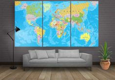 Large World Map Canvas Wall Art 3 or 4 or 5 by CanvasFactoryCo Canvas Frame, Canvas Wall Art, Wall Art Prints, Canvas Prints, Framed Maps, Framed Wall Art, Large World Map Canvas, Oil Painting Abstract, Painting Canvas