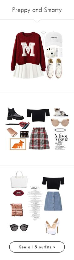 """Preppy and Smarty"" by realgirloutfitter ❤ liked on Polyvore featuring Converse, Fuji, Conair, Packandgo, Carven, American Apparel, Fiebiger, Marc Jacobs, Mark McGinnis and Linda Farrow"