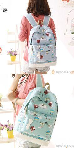 Cartoon Cute Hot Air Balloon Printing Girl s Canvas Junior High School  Backpack for big sale! cf42ae13859a6