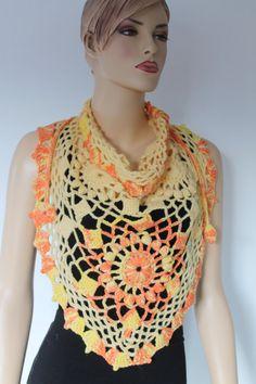 Yellow Orange Triangle Wool Crochet Scarf Crochet от levintovich