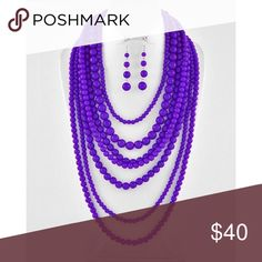 "Royal Purple Goddess Necklace Set Silver Tone / Purple Acrylic / Lead&nickel Compliant / Multi Row Necklace & Fish Hook Earring Set •   LENGTH : 19"" + EXT •   EARRING : 2 3/4"" L •   DROP : 6 1/2"" L  •   PURPLE R.E.A.L Jewelry Jewelry Necklaces"