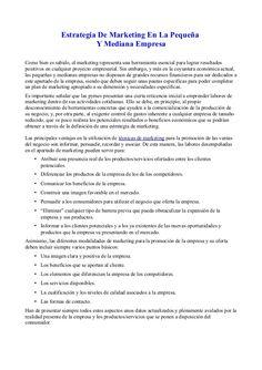 Estrategia De Marketing En La Pequeña                           Y Mediana EmpresaComo bien es sabido, el marketing represe...