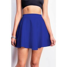 Pink Ice Flared Scuba Skirt ($15) ❤ liked on Polyvore featuring skirts, blue, blue circle skirt, stretchy skirt, pink skater skirt, skater skirt and pink skirt