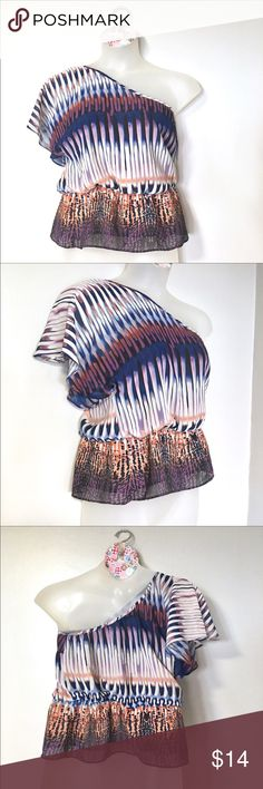 """Off shoulder print top C2 Off-the-Shoulder Print Top // a.n.a. Brand // sz L petite // 100% sheer polyester // 17.5"""" across armpits // 24"""" length // butterfly sleeve // Colors are blue, orange, purple, black, cream // not my size. Can't model // Bundle Discounts!! // Same or next day shipping // 6.10.23 / 3.25.14 a.n.a Tops"""