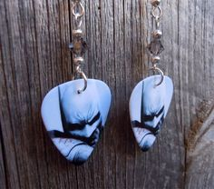 Batman Guitar Pick Earrings with Silver Crystals by ItsYourPick on Etsy