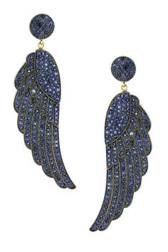 {September} Sapphire Wing Drop Earrings