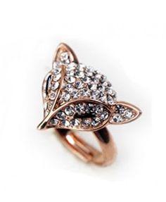 Golden Diamante Fox Design Ring