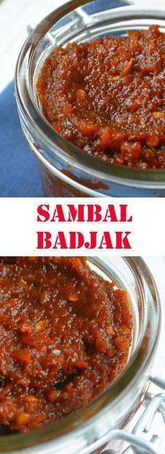 Een recept voor een lekkere zoete sambal badjak. Een indonesische sambal die je kunt gebruiken om je gerecht lekkerder en pittiger te maken. Sambal Sauce, Sambal Recipe, Sambal Oelek, Suriname Food, Sauces, Indonesian Cuisine, Indonesian Recipes, Herb Butter, Chutney