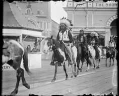 Native Americans on horse back before the Wild West Show began in Boston. Maine NA, Plymouth, Mass. Leslie Jones photography, 1917 - 1934 (approximate)