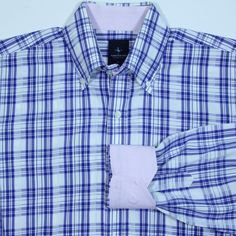 TAILORBYRD Blue White Plaid Contrast Pink Flip Cuff Casual Dress Shirt Mens L #Tailorbyrd #ButtonFront