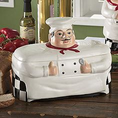 Kitchen Chef Decor Hardwood Cabinets 102 Best Bistro Images Fat Bread Box Canister