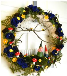 """Vintage Gnome OOAK """"Gnome Sweet Gnome """": 14 inch Felt, Moss, and Yarn Wreath and FREE Micro Wreath"""