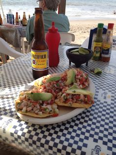 Tostadas de Ceviche with a nice cold beer :P