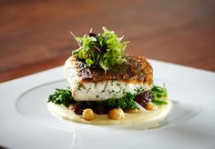 Paper Bark Smoked Barramundi with Sautéed Chick Peas and Broccolini-- Dinner date :)