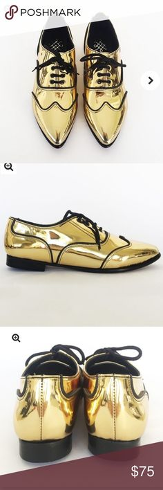 Metallic Oxford shoes Gold Oxford shoes Shoes Flats & Loafers