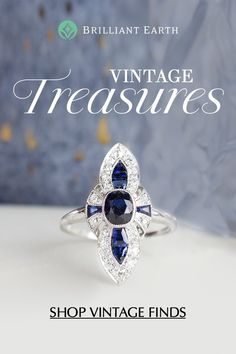 Vibrant and unique gemstones give these rings an eye-catching allure. From deep blue sapphires to soft white pearls, Brilliant Earth's selection of antique gemstone rings has a piece for every taste. Art Deco Jewelry, Bling Jewelry, Jewelry Box, Jewelry Rings, Jewelery, Jewelry Accessories, Jewelry Design, Jewelry Making, Antique Jewelry