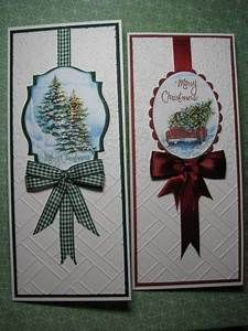 two handmade Christmas card ... tall and thin format ...