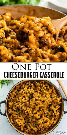 This Cheeseburger Casserole is made in ONE POT and takes just 30 minutes! It's a cheesy, meaty, and EASY macaroni dinner, and a homemade version of Hamburger Helper! |The Cozy Cook | #hamburgerhelper #cheeseburger casserole #comfortfood #dinner #macaroni #groundbeef #cheese