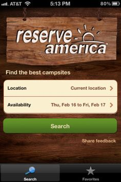 Reserve America RV app
