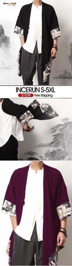 46f27529405 Mens Big Size Summer Loose Vintage Cotton Cloak Sleeve Printing Splice  Coats.