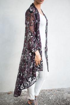 ATW Semi-Velvet Purple Floral Kimono- Shop/Product