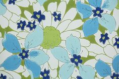 1970's Retro Wallpaper  Vintage Blue and Green by RetroWallpaper