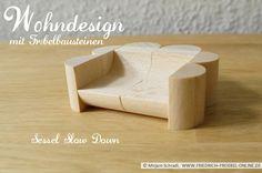 """Wohndesign zum Abschalten und Runterkommen- das ist der Sessel """"Slow Down"""", designt mit Holzbausteinen nach Froebel für höchste Ansprüche in Sachen Komfort und Design. ;-))) Come on - sit down!  Mehr über Fröbel und die Spielgaben:  http://www.friedrich-froebel-online.de/   Diese Bausteine kaufen: http://www.friedrich-froebel-online.de/shop/spielgaben/spielgabe-5b-holzbausteine/#cc-m-product-10078222812"""