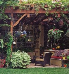 Hanging baskets and hanging lights are a great idea for jazzing up your backyard patio.
