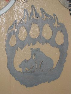 Wood scrollsaw bear paw with bear scene in center.  Perfect for rustic cabin or lodge decor handmade by Glass Moose.