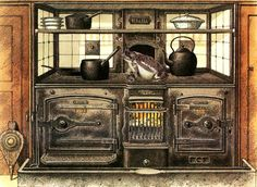 The Half Scale Josiah Gammage House and other Dollhouse Distractions: Victorian stoves Victorian Dolls, Victorian Dollhouse, Antique Dolls, Victorian Era, Victorian House, Victorian Design, Kitchen Stove, Farmhouse Sink Kitchen, Kitchen Country