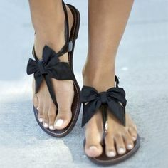 Material:Satin|Heel Height:2cm|Embellishment:Bowknot  #sandals #holiday