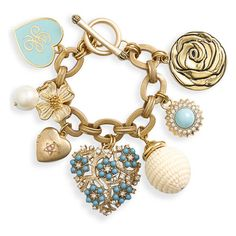 Juicy Couture Heart & Flower Charm Bracelet Turquoise One Size ($148) ❤ liked on Polyvore featuring jewelry, bracelets, accessories, fillers, pulseras, women, turquoise bracelet, juicy couture bracelet, heart locket bracelet and juicy couture charm
