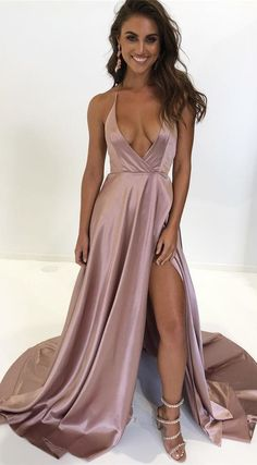 deep v neck blush pink long prom dress with side slit by prom dresses, $159.00 USD