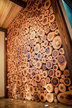 14 Interior Design Ideas Using Wood - Local Home US - Home Improvement Deco Restaurant, Into The Woods, Wood Interiors, Wood Slab, Wood Slices, Wooden Walls, Wood Design, Design Design, Wood Wall Art