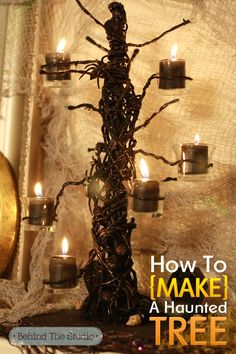DIY Haunted Tree - Make your own haunted tree using a wooden dowel, base, craft wire, paint, glue and votive holders.