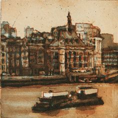 'Victoria Embankment' (etching & aquatint) by Victoria Ascanio