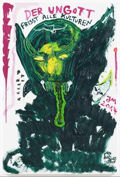 JONATHAN MEESE DR. YESNO SAGT ZUM URWALD: KOMM' ZU NOYES, DOKTORE, JETZT REICHTS..., 2014 Oil and acrylic on canvas 82 7/10 × 55 1/10 in