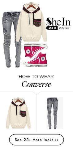"""sweatshirt"" by snjezanamilovanovic233 on Polyvore featuring Converse and Balmain"
